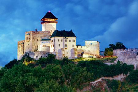 Castle in Trencin at night in Slovakia