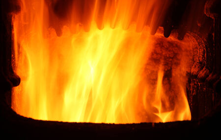 Furnace with fire photo