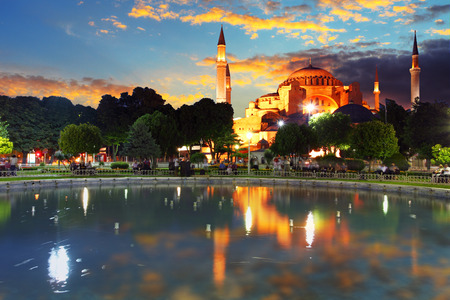 istanbul night: Istanbul mosque - Hagia Sophia, Turkey Stock Photo