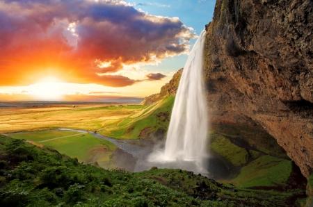 rainbow: Cascade, Islande - Seljalandsfoss Banque d'images