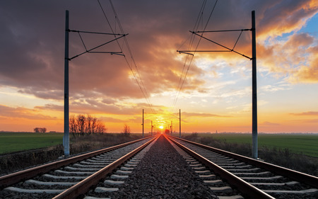 on track: Railroad at a dramatic sunset