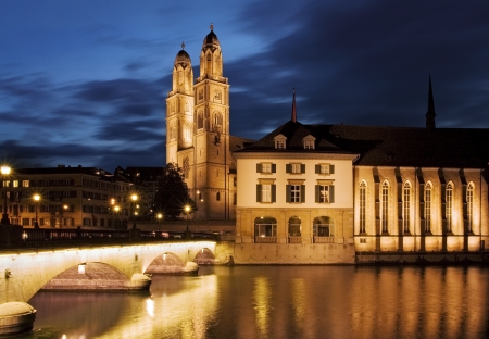 grossmunster cathedral: Grossmunster (The Great Cathedral) is the most representative landmark of Zurich city, Switzerland.