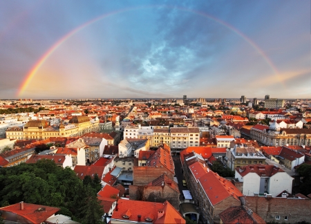 Zagreb cityspace with rainbow, Croatia  photo