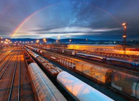 Trein Goederenvervoer platform - Cargo transit Stockfoto