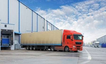 commercial docks: Cargo Transportation - Truck in the warehouse