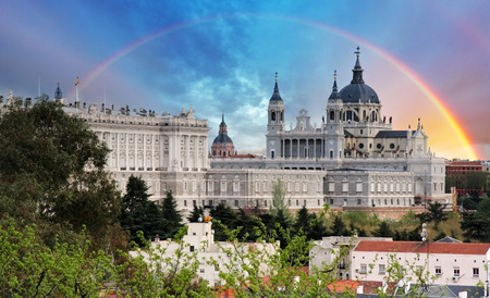 real madrid: Madrid, Almudena Cathedral wtih rainbow - Spain Stock Photo