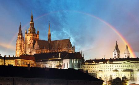 Prague Castle with rainbow, Czech republic