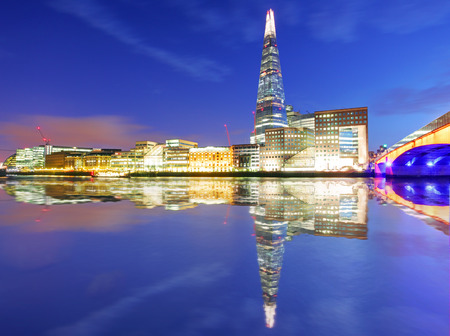 shard of glass: Skyline of London with reflection, UK
