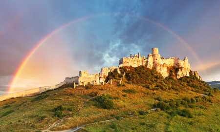 unesco world cultural heritage: Ruin of Spissky Castle in Slovakia at sunrise