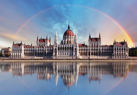 Budapest - Parliament with reflection in Danube Stock Photo