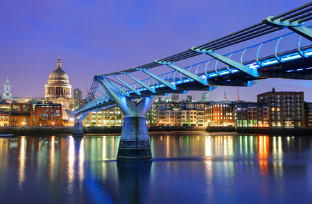 millennium bridge: Millennium Bridge and Saint Paul Cathedral - London, UK Stock Photo