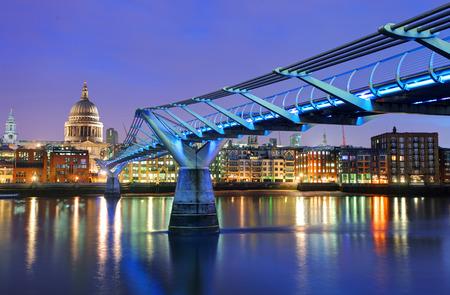 Millennium Bridge and Saint Paul Cathedral - London, UK Stock Photo
