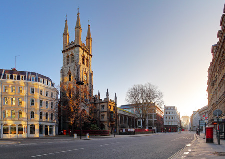 saint paul: Street Holborn  in London with church