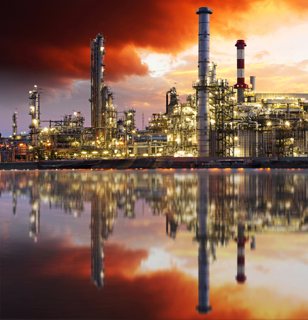 gas supply: Oil refinery at twilight - petrochemical industry