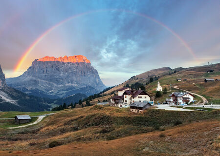 Mountain Landscape in Italy Alps - Passo Gardena in Dolomites photo
