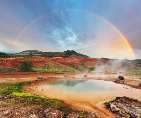 crater lake: Lake in geysir area, Iceland  Stock Photo