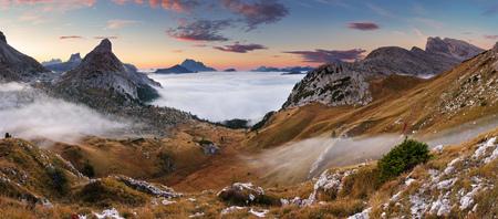 Beautiful summer landscape in the mountains  Sunrise - Italy Dolomites photo