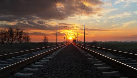 railroad station: Railway, railroad at a nice dramatic sunset