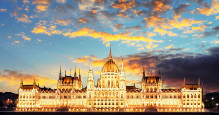 Budapest parliament at sunset with reflection in water  photo