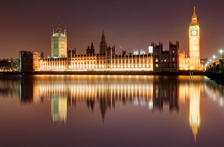 england politics: London at night - Houses of parliament, Big Ben Stock Photo