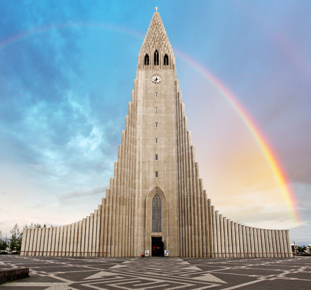blue church: Hallgrimskirkja cathedral in reykjavik iceland Stock Photo