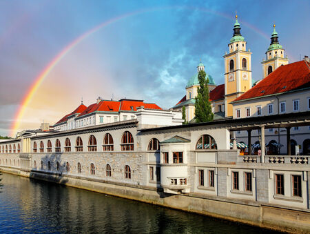 slovenia: River in Ljubljana from Dragon Bridge, Slovenia Stock Photo