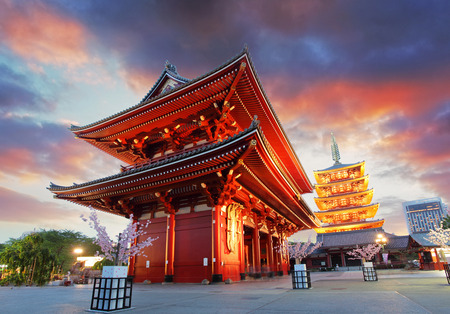 japanese culture: Tokyo - Sensoji-ji, Temple in Asakusa, Japan Stock Photo