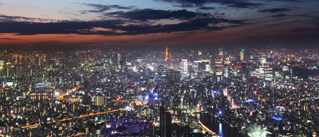 Tokyo skyline panorama at night from Tokyo Tower, Japan Stock Photo