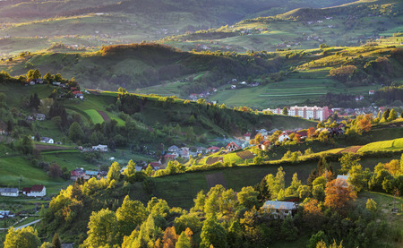Green spring rural hills landscape, Slovakia photo