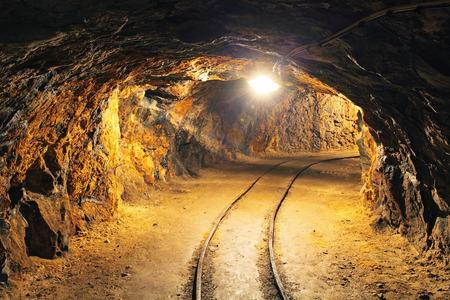 gold mining: Underground mine tunnel, mining industry