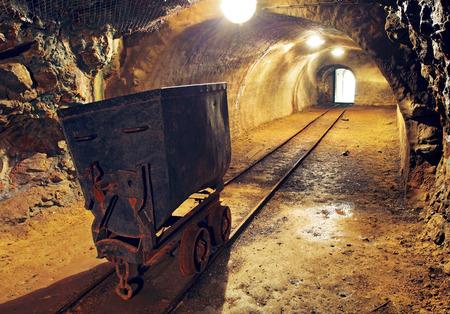 Mine gold underground tunnel railroad  photo