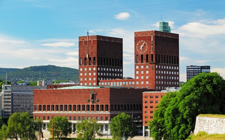 guildhall: City Hall  Radhuset , Oslo, Norway Stock Photo