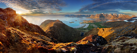panoramic beach: Norway Landscape panorama with ocean and mountain - Lofoten