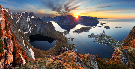 Nature panorama mountain landscape at sunset, Norway  photo