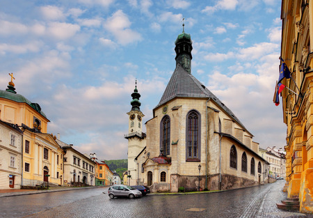 gildhall: Banska Stiavnica, St  Katharine church, Slovakia  Stock Photo