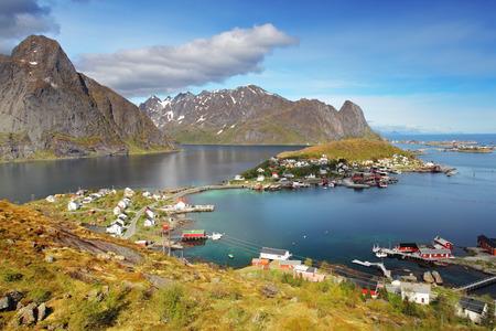 fjords: Norway village in sea, Lofoten Stock Photo