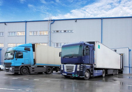 transportations: Freight Transportation - Truck in the warehouse Stock Photo