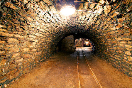 Underground mine tunnel, mining industry photo