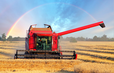 harvester: Harvester machine with rainbow
