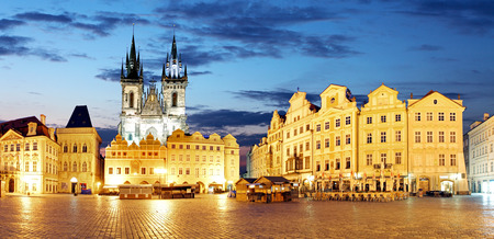 czech women: Prague Old town square at night - panorama