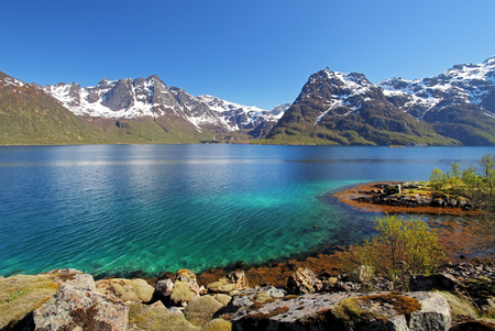 berm: Moutain and lake sea landcape in Norway Stock Photo