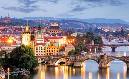 Prague cityscape at night