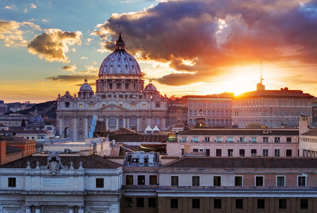 sunset city: Rome, Vatican city at sunset
