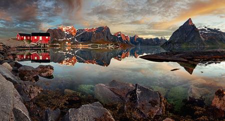 fishing cabin: Norway village Reine with mountain, panorama