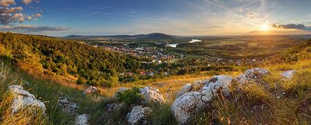 morava: Bratilava panorama with village Devin at sunset