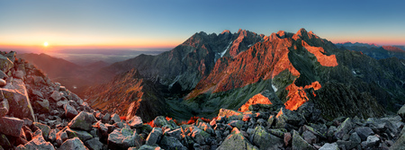 Mountain sunset panorama from peak - Slovakia Tatras photo