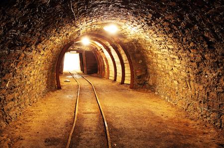 Underground mine tunnel, mining industry photo