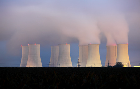 cooling towers: Nuclear power plant by night