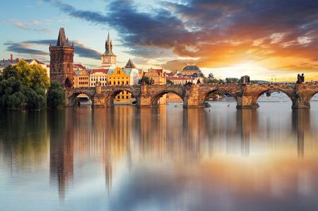 prague castle: Prague - Charles bridge, Czech Republic