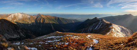 panoramatic: Autumn Panorama mountain - Tatras, Slovakia Stock Photo